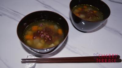 塩ゆであずき雑穀のスープ